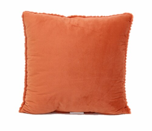 Smith S Food And Drug Brentwood Cheviot Faux Fur Decor Pillow Tangerine 18 X 18 In