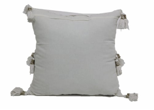 Brentwood Damask Embroidery Decor Pillow with Tassels Perspective: back