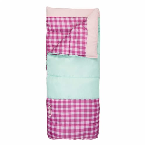 Wenzel Sapling 40 - 50 Degree Fahrenheit Kids Camping Sleeping Bag, Youth (Pink) Perspective: back