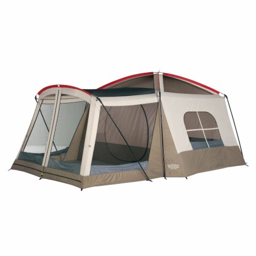 Wenzel Klondike Large Outdoor 8 Person Camping Tent with Screen Room, Brown Perspective: back