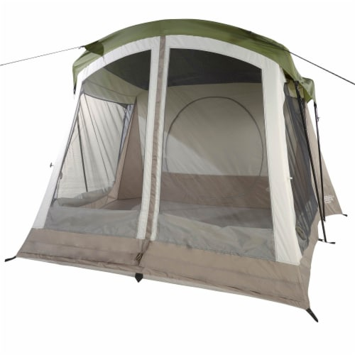Wenzel Klondike Large Outdoor 8 Person Camping Tent with Screen Room, Green Perspective: back