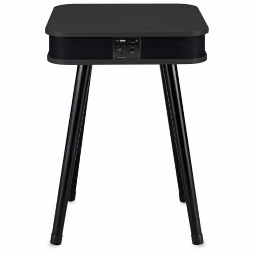 DecorTech Square Speaker End Table - Black Perspective: back