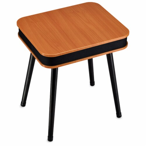 Square Speaker End Table - Brown Perspective: back