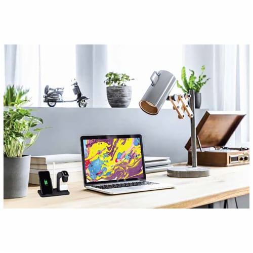 iLive IACQ490B 3-in-1 Wireless Charging Stand Perspective: back