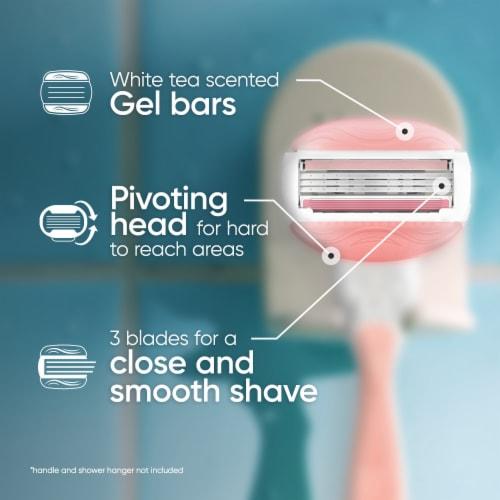 Gillette® Venus ComfortGlide White Tea Women's Razor Handle + 2 Blade Refills Cartridges Perspective: back