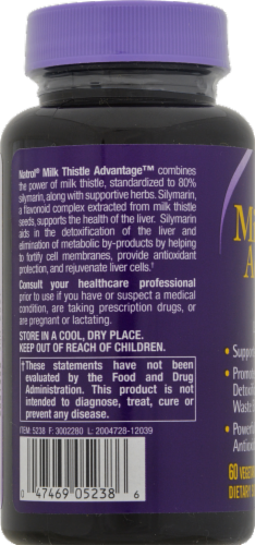 Natrol Milk Thistle Advantage Vegetarian Capsules 525mg Perspective: back