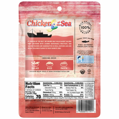Chicken of the Sea Skinless & Boneless Pink Salmon Pouch Perspective: back