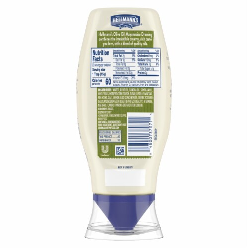 Hellmann's Mayonnaise with Olive Oil Sqeeze Bottle Perspective: back