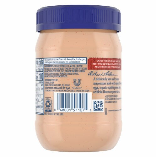Best Foods Organic Spicy Chipotle Mayonnaise Perspective: back