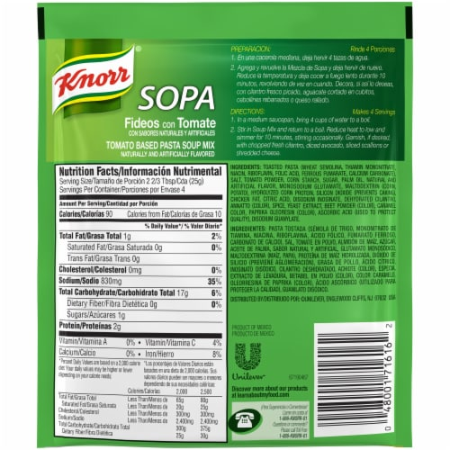 Knorr® Tomato Based Pasta Soup Mix Perspective: back