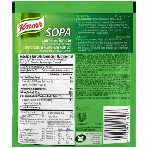 Knorr Tomato Based Alphabet Pasta Soup Mix Perspective: back