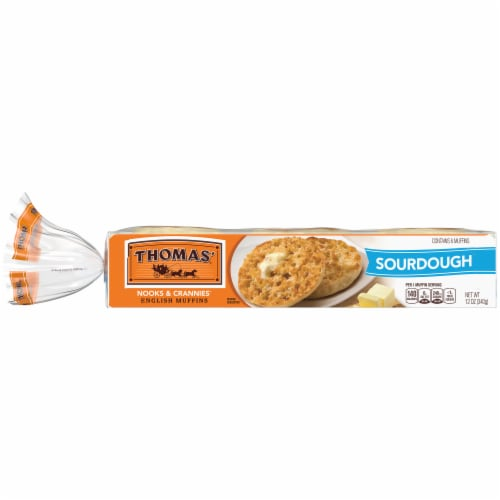 Thomas' Nooks & Crannies Sourdough English Muffins Perspective: back