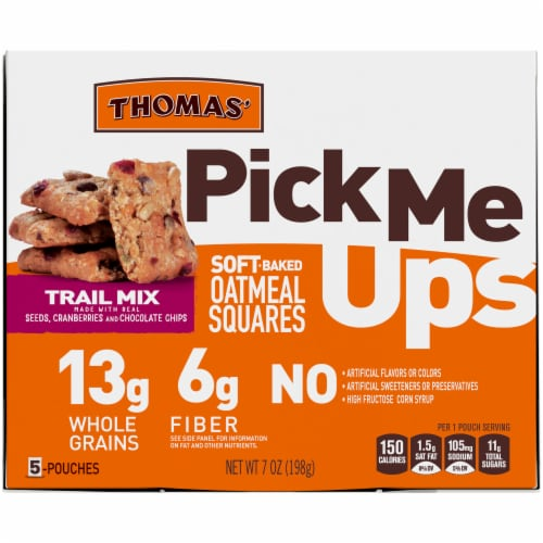 Thomas' Pick Me Ups Trail Mix Soft Baked Oatmeal Squares Perspective: back