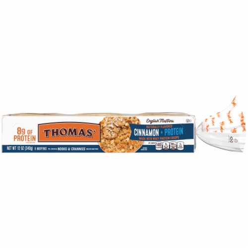 Thomas'® Cinnamon + Protein Nooks & Crannies English Muffins Perspective: back