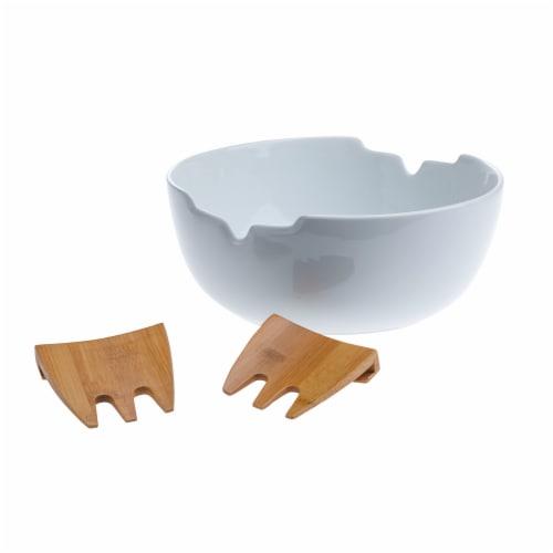 Tabletops Unlimited Porcelain & Bamboo Salad Set Perspective: back