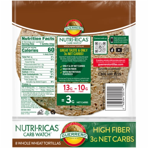 Guerrero Nutri-Ricas Carb Watch Whole Wheat Tortillas Perspective: back