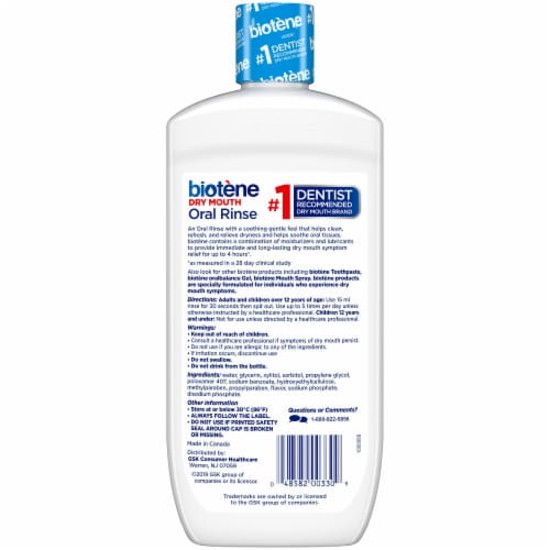 Biotene Fresh Mint Dry Mouth Oral Rinse Perspective: back