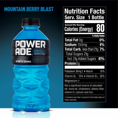 Powerade Mountain Berry Blast Sports Drink Perspective: back