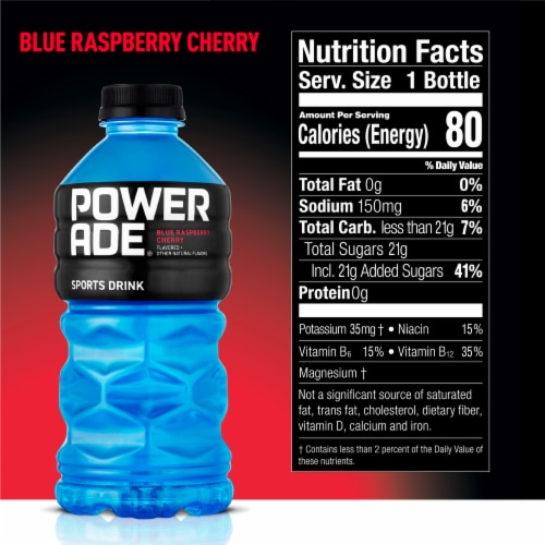 Powerade Blue Raspberry Cherry Flavored Sports Drink Perspective: back