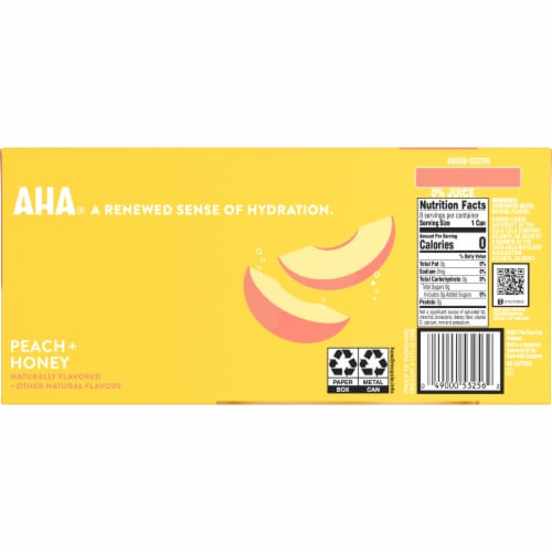 AHA Peach + Honey Sparkling Water Perspective: back
