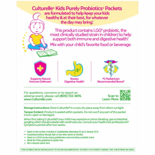 Culturelle Probiotics Kids Dietary Supplement Packets Perspective: back