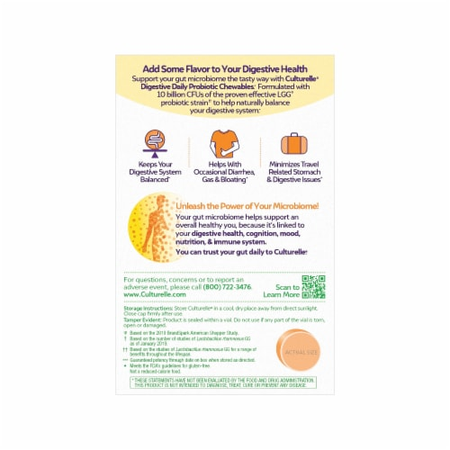 Culturelle Probiotics Digestive Health Orange Flavored Chewables Perspective: back