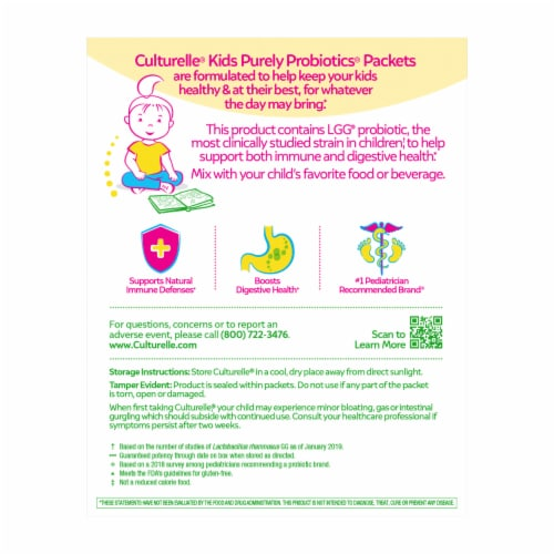 Culturelle Kids Daily Probiotic Packets Perspective: back