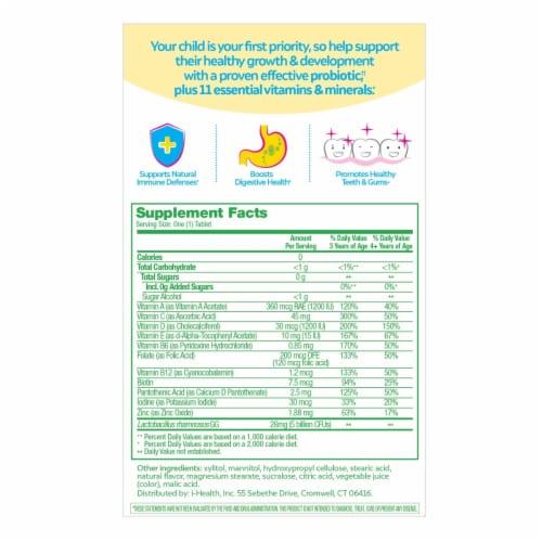Culturelle Kids Propbiotic & Multivitamin Fruit Punch Flavor Chewable Tablets Perspective: back