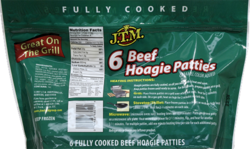 J.T.M. Beef Hoagie Patties Perspective: back