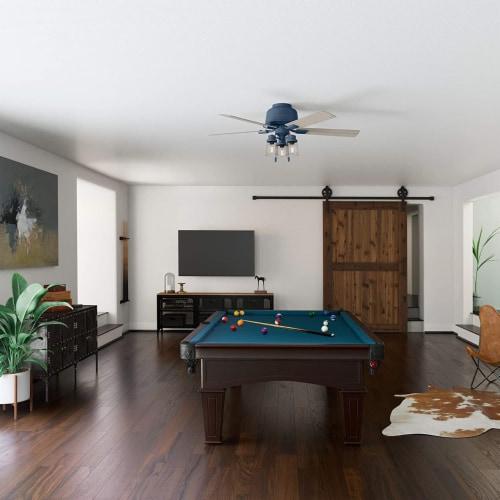 Hunter Fan Company Hartland 52  Indoor Home Low Profile Ceiling Fan w/ LED Light Perspective: back