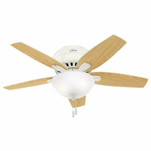 """Hunter Newsome 42"""" Low Profile Ceiling Fan w/ LED Light and Pull Chain, White Perspective: back"""