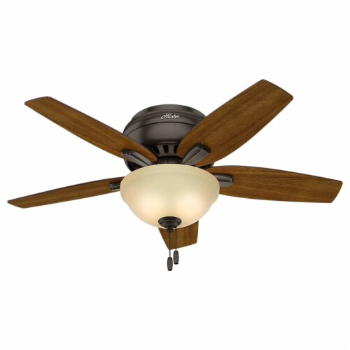 """Hunter Low Profile Newsome 42"""" Ceiling Fan with LED Light and Pull Chain, Bronze Perspective: back"""