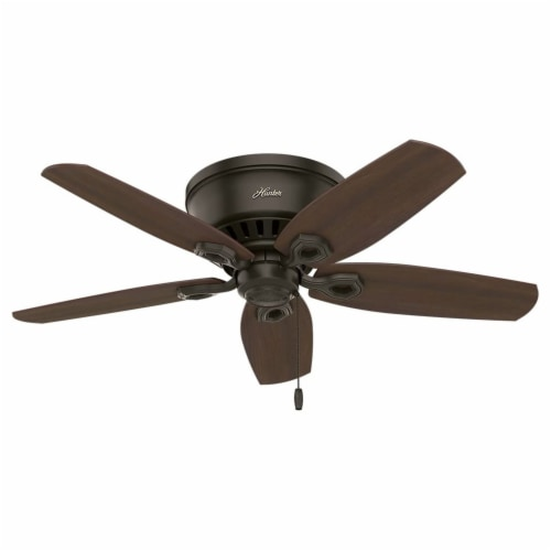 """Hunter Builder 42"""" Low Profile Ceiling Fan w/ LED Lights and Pull Chain, Bronze Perspective: back"""