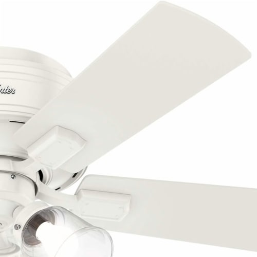 """Hunter Crestfield 42"""" Low Profile Ceiling Fan w/ LED Light and Pull Chain, White Perspective: back"""