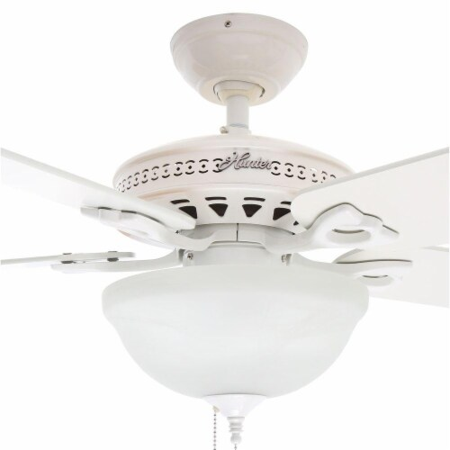 """Hunter Astoria 52"""" Quiet Home Ceiling Fan with LED Light and Pull Chain, White Perspective: back"""