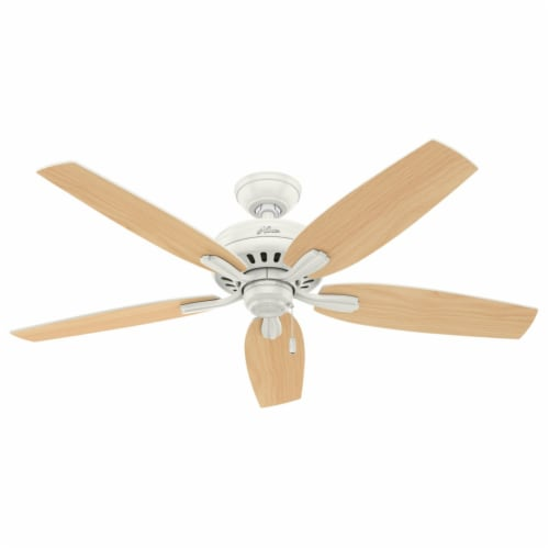 """Hunter Newsome 52"""" Indoor/Outdoor Home Ceiling Fan with Pull Chain, Fresh White Perspective: back"""