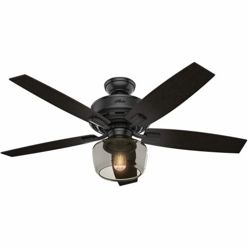 "Hunter Bennett 52"" Low Profile Ceiling Fan w/ 3 LED Light Kit and Remote, Black Perspective: back"