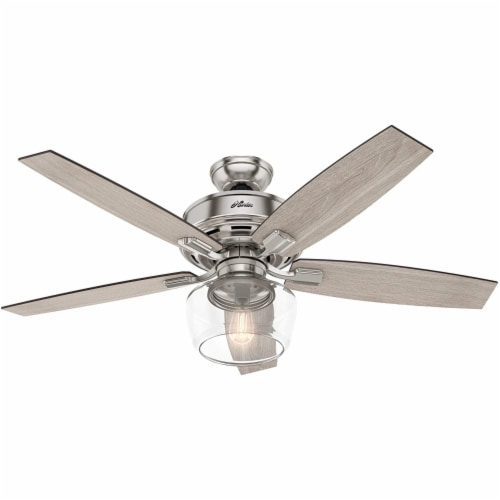 """Hunter Bennett 52"""" Quiet Ceiling Fan with LED Light and Remote Control, Silver Perspective: back"""