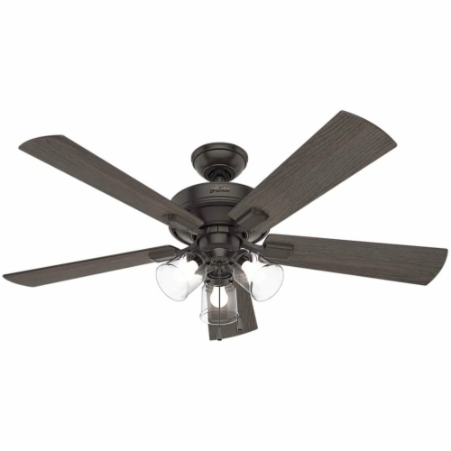 Hunter Crestfield 52 Inch Indoor Ceiling Fan with LED Lights, Noble Bronze Perspective: back