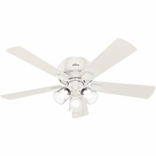 """Hunter Crestfield 52"""" Low Profile Ceiling Fan w/ LED Light and Pull Chain, White Perspective: back"""
