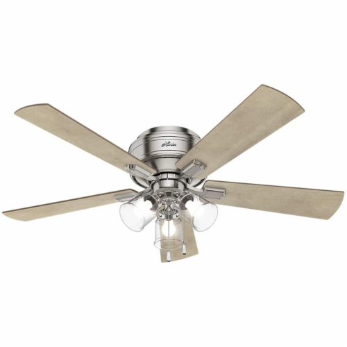 "Hunter Crestfield 52"" Quiet Indoor Ceiling Fan w/ LED Lights , Brushed Nickel Perspective: back"