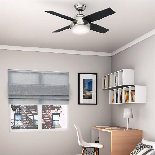 """Hunter Dempsey 44/"""" Ceiling Fan with LED Light and Remote Control Brushed Nickel"""
