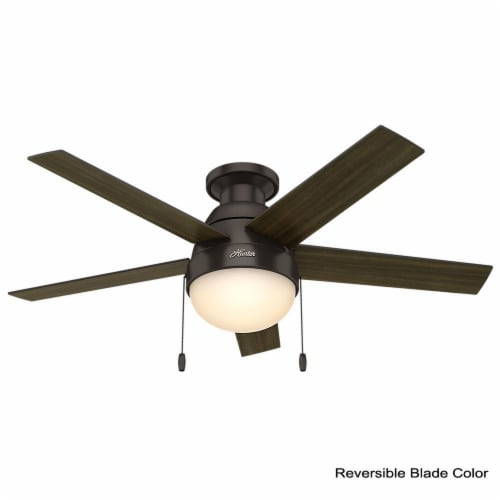 """Hunter Low Profile Anslee 46"""" Home Ceiling Fan with LED Light and Pull Chains Perspective: back"""