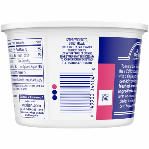 Knudsen Small Curd Low Fat Cottage Cheese Perspective: back
