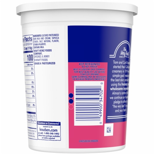 Knudsen Small Curd Lowfat Cottage Cheese Perspective: back