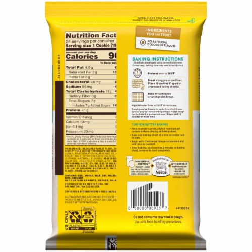 Nestle® Toll House® White Chip Macadamia Nut Cookie Dough Perspective: back