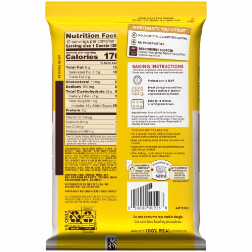 Nestle Toll House Chocolate Chip Lovers Cookie Dough Perspective: back
