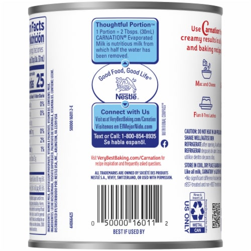 Carnation Evaporated Fat Free Milk Perspective: back