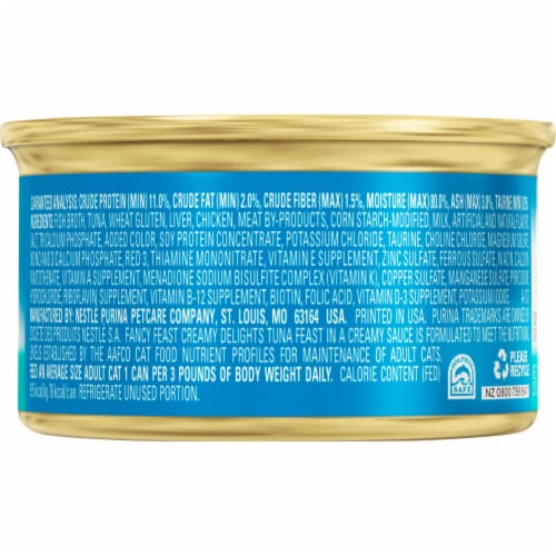 Fancy Feast Creamy Delights Tuna Feast with Real Milk Wet Cat Food Perspective: back