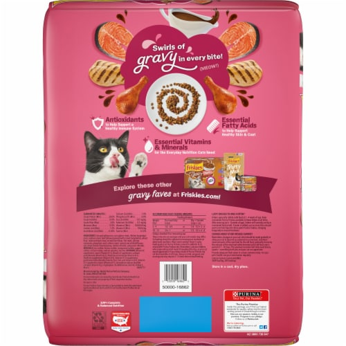 Friskies Gravy Swirlers with Chicken & Salmon Flavors Dry Cat Food Perspective: back